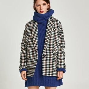 NWT Zara Colorful Checked Houndstooth Blazer Coat